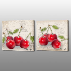 MP-589ab Stretched Canvas Red Cherry Fruit Picture Popular Art for Home Dining Room Decoration