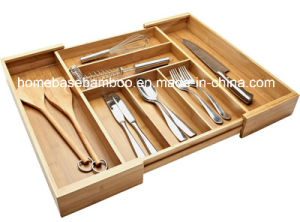 Eco-Friendly Bamboo Drawer Expandalbe Cutlery Flatware Tray Organizers Storage Box (HB-107) pictures & photos