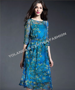 Fashion Beautiful Blue Printing Chiffon Long Dress