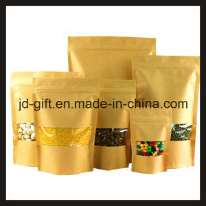 Wholesales Kraft Paper Standing Ziplock Food Packaging Bags with Clear Window for Candy, Seeds, Spice, Tea, Dry Food in Shop or Home (16*26+4cm) pictures & photos