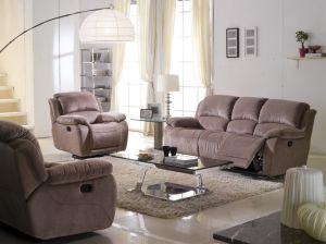 Brown Color Size And High Back Recliner Fabric Sofa