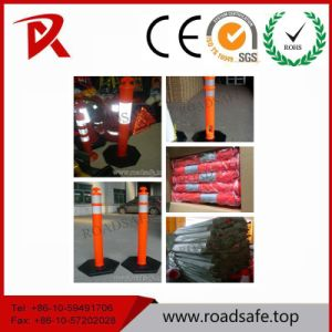 High Visible T-Top 1100mm Reflective Removable Plastic Bollard Spring Delineator Post pictures & photos