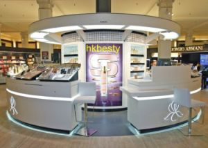China Cosmetic Showroom Display Stands / Cosmetic Kiosk Design