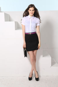 Fashionable Women′s Short Sleeve Work Office Shirt pictures & photos