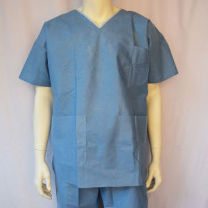 Light Blue SMS Scrub Suit with Three Pockets pictures & photos