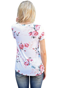 Short Sleeve Round Neck Floral Printed T-Shirt pictures & photos