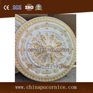 Golden Diameter 1 M PU Polyurethane Ceiling Medallions for Home Lobby Ceiling Decoration