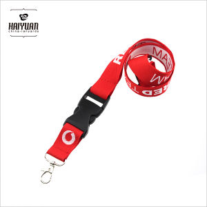 Red Jacquard Lanyard with Safety Buckle at The Neck