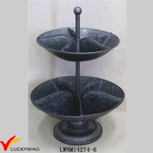 Luckywind Decorative Rustic Round Tier Industrial Metal Tray pictures & photos