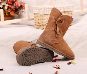 Classic Double Face Sheepskin Winter Tall Boots for Men and Women