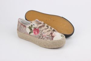 Lady Fashion Casual Hemp Rope Platform Shoes Knitting Canvas Shoes pictures & photos