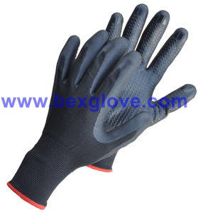 15gauge Nylon/Spandex Liner, Nitrile Coating, Micro-Foam, Dots on Palm Safety Gloves pictures & photos