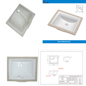 Rectangular Bathroom Under Counter Ceramic Washing Basin (SN040)