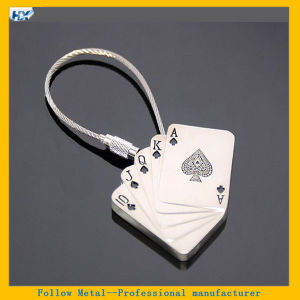 Promotional Spades Playing Cards Shaped Steel Wire Metal Playing Cards Keyring