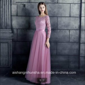 China Lace Tulle Bridesmaid Dresses 3 4 Sleeve Appliques