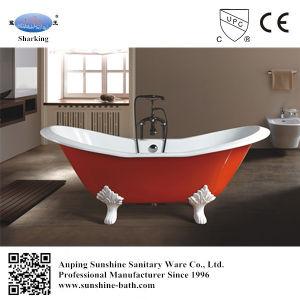 2 Person Porcelain Enamel Cast Iron Freestanding Bath Tub For Adult