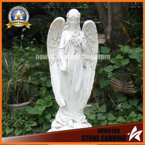Hand Carved Sculpture White Marble Angel Statue for Garden Decoration pictures & photos