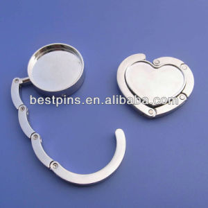 Blank Round and Heart Shape Bag Hook, Foldable Metal Bag Hanger, Purse Hanger with Customize Company Logo pictures & photos