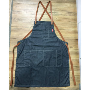Factory Custom Fashion Black Denim Work Aprons for Coffee Shop