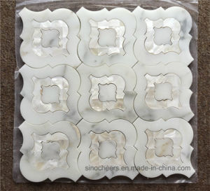 Calacatta Gold White Marble Mixed Shell Waterjet Mosaic Tile pictures & photos