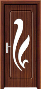 PVC Wood Door with Glass (WX-PW-154)