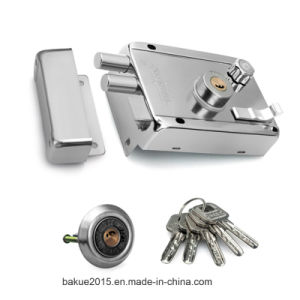 Door Security Rim Lock with Double Cylinder and Five Keys pictures & photos