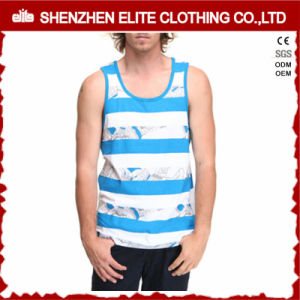 Wholesale Sublimation Custom Sleeveless T Shirt Men White (ELTMBJ-450) pictures & photos