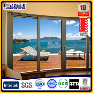 Grey Color Aluminum Framed Double Glass Lift and Sliding Door with Screen pictures & photos