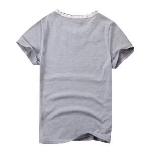 Ladies Gray Beaded T-Shirt Flowers Stringy Selvedge Collar T-Shirts pictures & photos