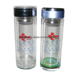 Thermal Insulation Double Wall Glass Cup with Carry Lid