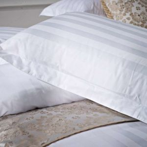 Soft Touch Hotel White Satin Stripe Pillow Case Pillow Cover 100% Cotton