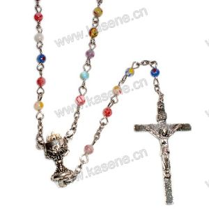 Holy 6mm Colourful Round Gemstone Rosary Necklace Religious Prayer Rosary