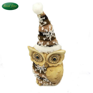 China Ceramic Toy Owl Figurine With Santa Cap Animal Statues For
