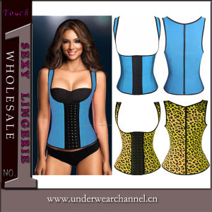 Erotic Women Latex Waist Training Underbust Sexy Lingerie Corset (TLQ885) pictures & photos