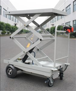 Electric Mobile Lift Table with One Cylinder & 4 Big Wheels for Materials Handling