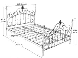 Modern Commercial Design Black Iron Steel Single Bed