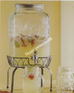 Glass Beverage Dispenser with Iron Stand Glass Jar pictures & photos