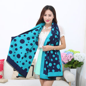 Lady Fashion Acrylic Woven Fringed Jacquard Winter Shawl (YKY4443) pictures & photos