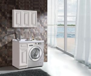 Beau Laundry Washing Machine Solid Wood Bathroom Cabinet With Laundry Basket