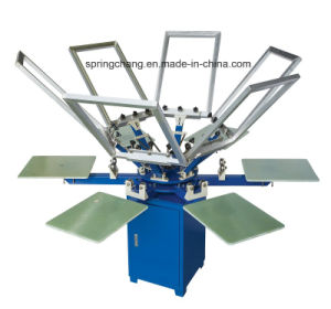 6 Color 6 Station Manual T Shirt Carousel Screen Printing Press Spm650 pictures & photos