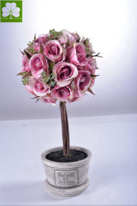 Artificial Rose Ball in Paper Mache Pot on Desk