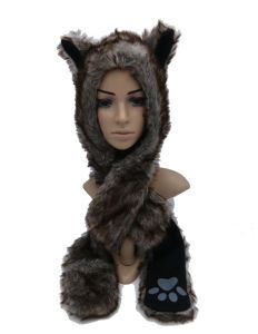 New Style Long Thick Warm Plush Hat with Hand Print