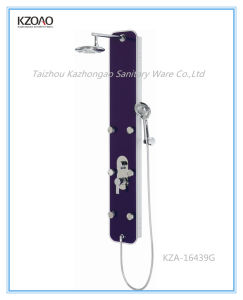 Kza-16439g Multi Function Purple Tempered Glass Shower Panel