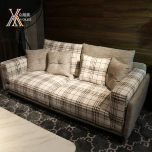 Living Room Fabric Sofa With Checked Pattern 802d