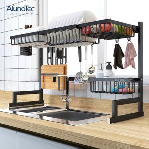 China 95cm Black Drying Stand Metal Kitchen Holder Storage Shelf Over The Sink Dish Drainer Rack China Kitchen Storage Rack And Storage Rack Drainer Price