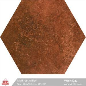 Foshan Brown Building Material Rustic Matt Ceramic Porcelain Floor Six Corners Tiles Vr6n5222 520x600mm 20 X24
