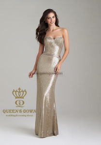 China Evening Dress Long Bridesmaid Dresses with Gold Sequin Fabric
