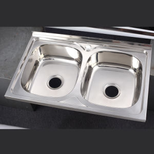 China 8060b Double Bowl Top Mount Sink Drop In Stainless Steel