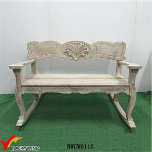 Antique White Scroll Double Rocker Wooden Rocking Porch Bench pictures & photos