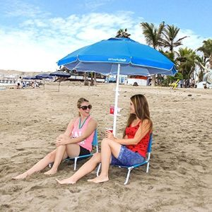 5.5′ Blue Portable Sun Shade Umbrella with Tripod Base Beach Stake and Tilt Feature. Great for Soccer, Baseball, Football, Fishing and The Beach - B
